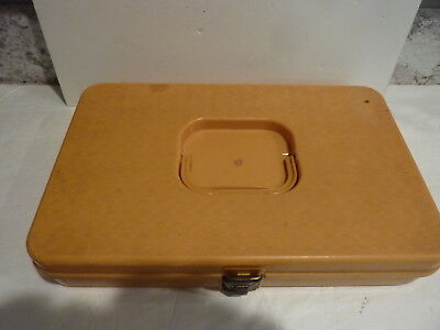Vintage Wilson Wil-Hold Gold Styrene Plastic Sewing Thread Box - Made In USA
