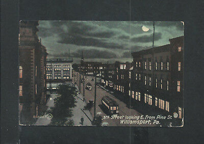 Vintage Post Card - 3rd St looking East from Pine - Williamsport, PA LotJK
