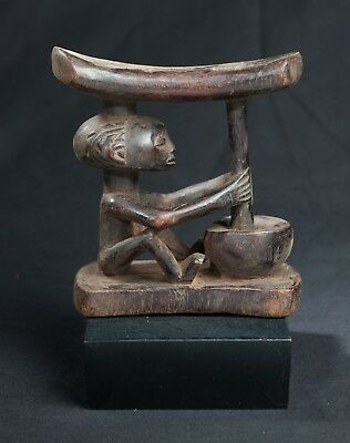 Luba Head Rest with Male Ancestor, D.R. Congo, Central African Tribal Arts