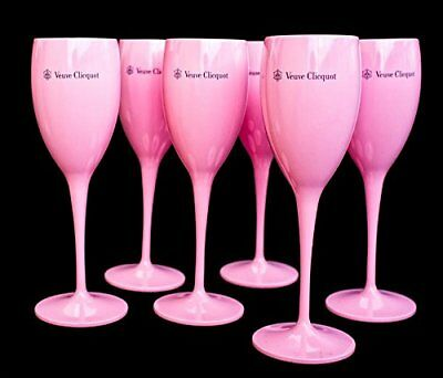 Veuve Clicquot Pink Rose Champagne Acrylic Flute Glass of 6!