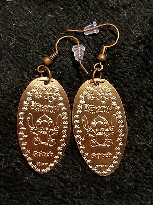 Rare Disney Parks Disneyland Pressed Penny Coin Earrings Dca California Stitch