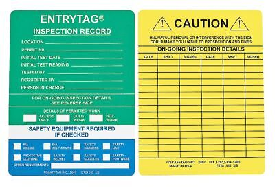 7-5//8 Width Brady ENT-ETSI532 5-3//4 Height Green Color Entrytag Standard Inserts Vinyl Pack Of 100