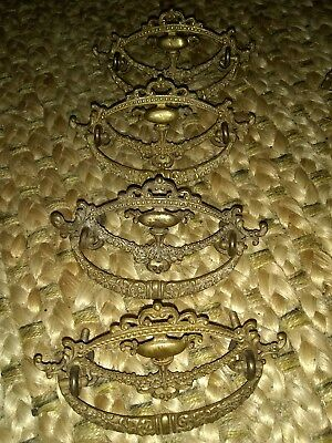 4 Vintage beautiful Antique Victorian Brass Ornate Drawer Pulls
