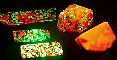 Fluorescent 5 Willemite and Calcite Sterling Hill NJ SW UV Specimens