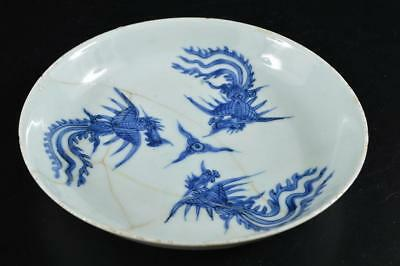 G4407: Chinese Blue&White Chicken pattern ORNAMENTAL PLATE/Dish Tea Ceremony