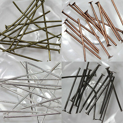 Lots 100/200Pcs Silver Plated Flat Head Pin Finding 20mm 30mm 40mm 50mm
