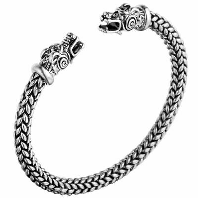 Viking Dragon Wolf Head Punk Bracelet Norse Mythology Beast Bangle Jewelry Men