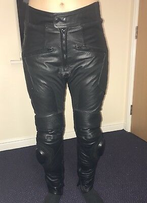 "Texpeed Black Leather Biker Trousers Waist 32"" Hip 38""  Hardly Used"