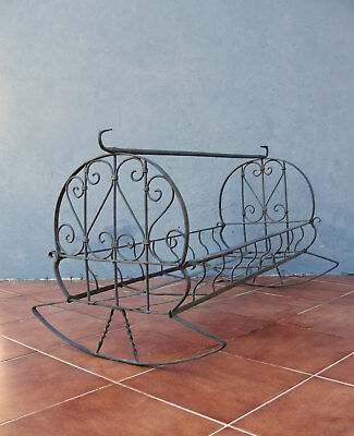 Antique Ornate Cradle Iron wrought Crib Rocking Baby Bed 1900's Collectible