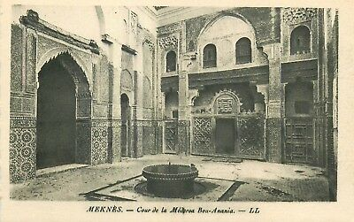 Cp Maroc Meknes Cour Medersa Bou-Anania