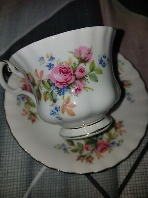 Royal albert moss rose tea set trio cup and saucer and vintage plate roses