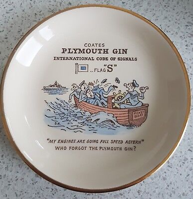 Vintage 'PLYMOUTH GIN' Coates INTERNATIONAL CODE of SIGNALS Ceramic Ash PIN TRAY