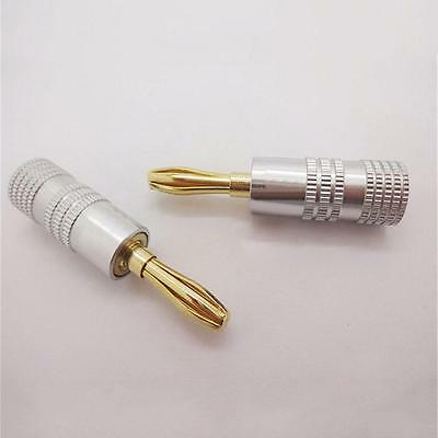 24k Gold Plated Speaker Cable Wire Pin 4mm Banana Plug Screw Lock Connectors DI
