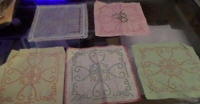 A set of 5 Embroidery Samplers some part done