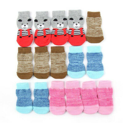 4Pcs/Set Pet Dog Skid Shoes Fashion Hot Sale Anti Slip Knitted Warm Sock Cotton