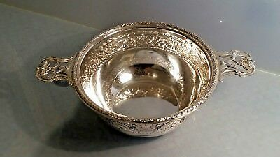 Large French silver twin handled dish porringer design