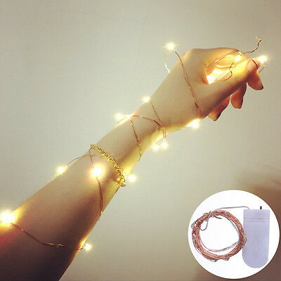 20LED 2M Copper Wire Battery Operated String Fairy Light Warm White Home Decor