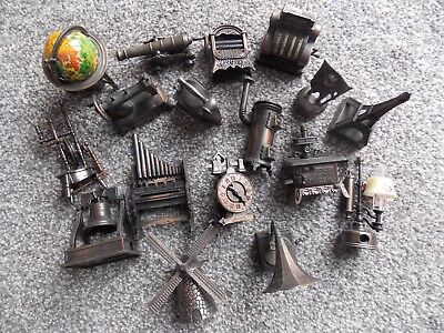 Job lot of die cast novelty pencil sharpeners vintage cannon gramophone Ect