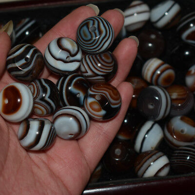 5pc Madagascar Banded Tumbing Pattern Silk Agate Round Beads DIY Jewelry