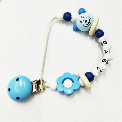Infant Baby Teether Safe Silicone Wood Beads Teething Toys Safety Feeding 8C
