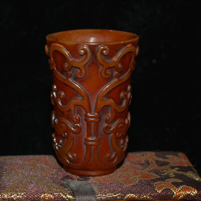 China Hand Carved Shoushan Stone Carving Calligraphy Exquisite Wine Glass Cup