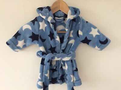 John Lewis Baby Blue Stars And Moons Dressing Gown With Hood 3-6 Months