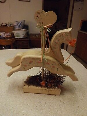 """Vintage Hand Painted Horse Wood carousel Wooden Horse Handmade 13X14"""""""
