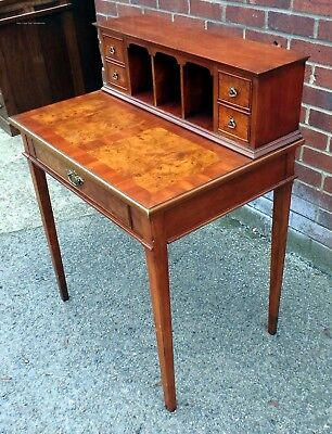 Georgian antique style compact burr walnut 5 drawer writing table computer desk