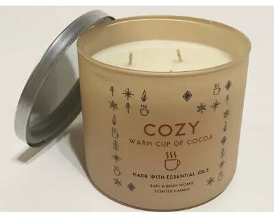 Bath & Body Works COZY WARM CUP OF COCOA 3 Wick Candle 14.5 Oz  NEW Sold Out