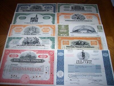 Lot of 10 Different Stock Certificates.Nice Vignettes TL7