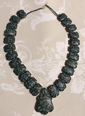 Antique Tibetan Hand Knotted Turquoise Mosaic Necklace.