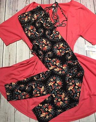 3b87fbaeda3c Lularoe Outfit Xl Perfect T Coral Solid & TC Black Background Paisley Flower