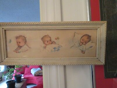 VINTAGE or ANTIQUE (?) FRAMED BABY DRAWINGS - 3 DIFFERENT POSES - BUTTERFLY