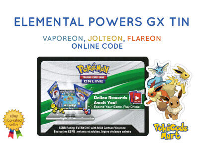 Pokemon Elemental Powers Tin Online Codes for PTCGO (Flareon, Vaporeon, Jolteon)