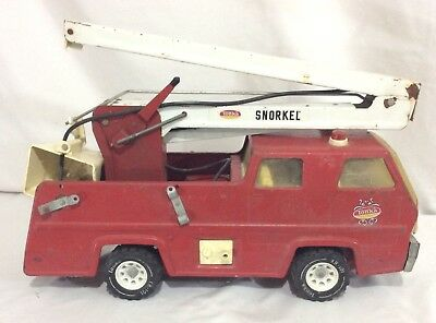 Vintage Antique 1960's Tonka Pressed Steel Fire Truck Ladder Bucket Pumper Truck