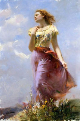 CHENPAT521charmed fashion long dress girl portrait oil painting art on canvas