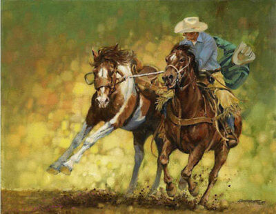 CHENPAT525 two west cowboys portrait riding horses oil painting art on canvas