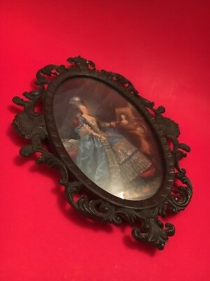 Vintage Italian Brass Metal Picture Frame Print Italy Photo Oval Convex Glass