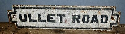 """Large Reclaimed Cast Iron Victorian Antique Street Sign """" Ullet Road """" Rare"""