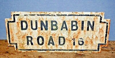 """Large Reclaimed Cast Iron Victorian Antique Street Sign """" Dunbabin Road """" Rare"""