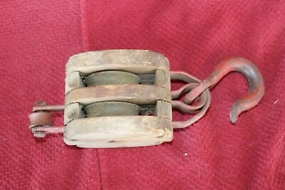 Antique Vintage Wooden w/ Cast Iron Wheels Double Wheel Hay Barn Nautical Pulley
