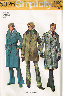 Vintage 1972 PATTERN for CLASSIC MEN'S COAT Chest 38 UNCUT Simplicity 5326