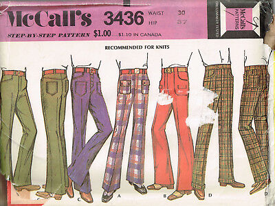 Vtg 1972 PATTERN for ASSORTED MENS' PANTS Waist 30, Hip 37 UNCUT McCall's 3436