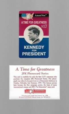 $17. 'Kennedy For President' Campaign Poster w/ Photo PROOF Phone Card