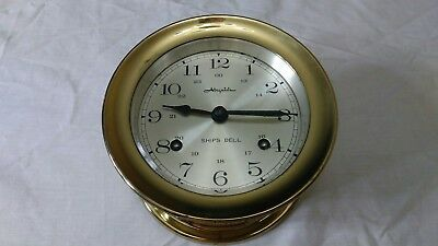 Vintage Airguide SHIPS BELL Brass Clock - Untested