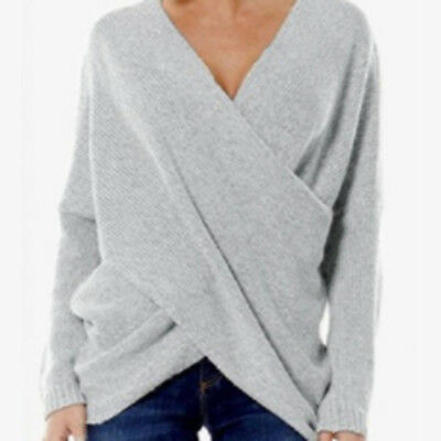 Fashion Women Wrap V Neck Front Cross Casual Knit Tops Sweater Jumper Pullove 8C