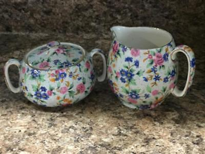 Royal Winton Grimwades Old Cottage Chintz Countess Creamer &  Sugar Bowl EPOC