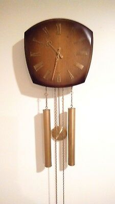 Vintage 1950's Mid Century Modern Junghans 8 Day Weight Driven Wall Clock