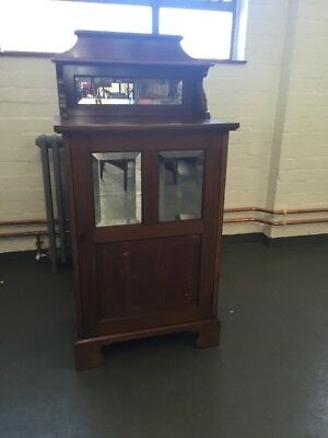 Edwardian Mahogany & Inlaid Music Cabinet With Bevel Mirror Door