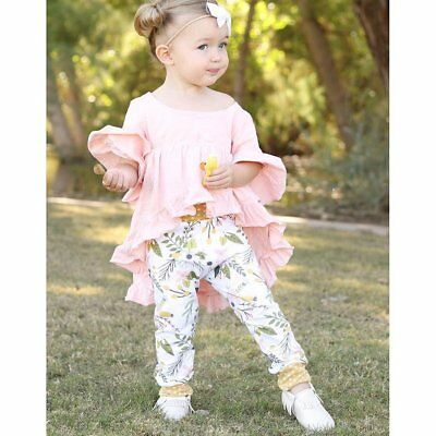 Autumn Infant Toddler Kids Baby Girls Clothes Tail Shirt Tops + Pants Outfit Set